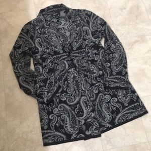 Style & Co Black and Gray Paisley Sweater
